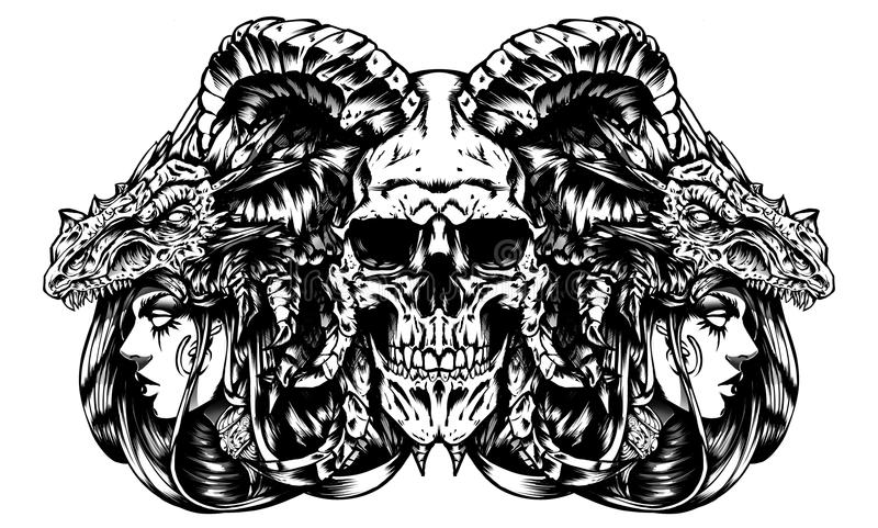 Dämonschädel mit Hexendunkelkunst stock abbildung