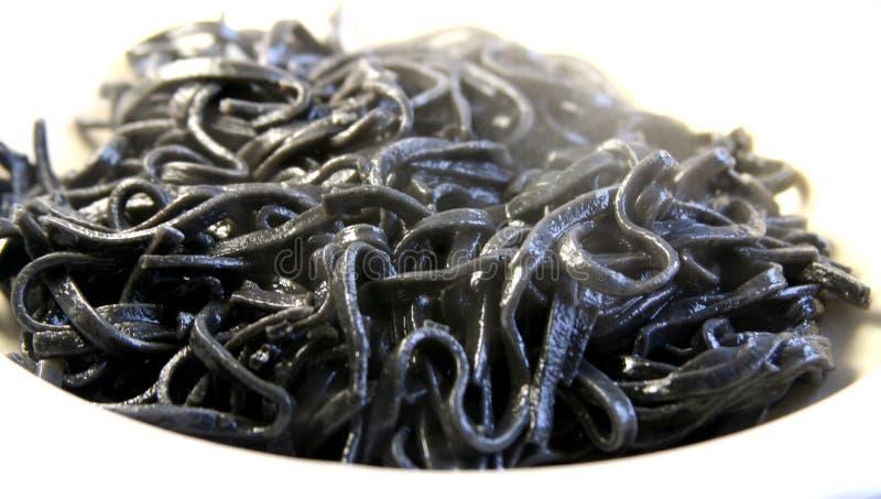 Dämpfende schwarze Sepianudeln über Weiß lizenzfreie stockfotografie