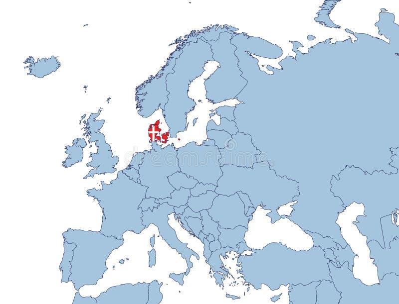 dänemark karte europa Dänemark auf Europa Karte vektor abbildung. Illustration von karte