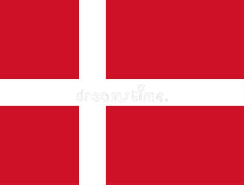 Dänemark, Dannebrog Dänische Markierungsfahne Offizielle Farben Korrekter Anteil Vektor lizenzfreie abbildung