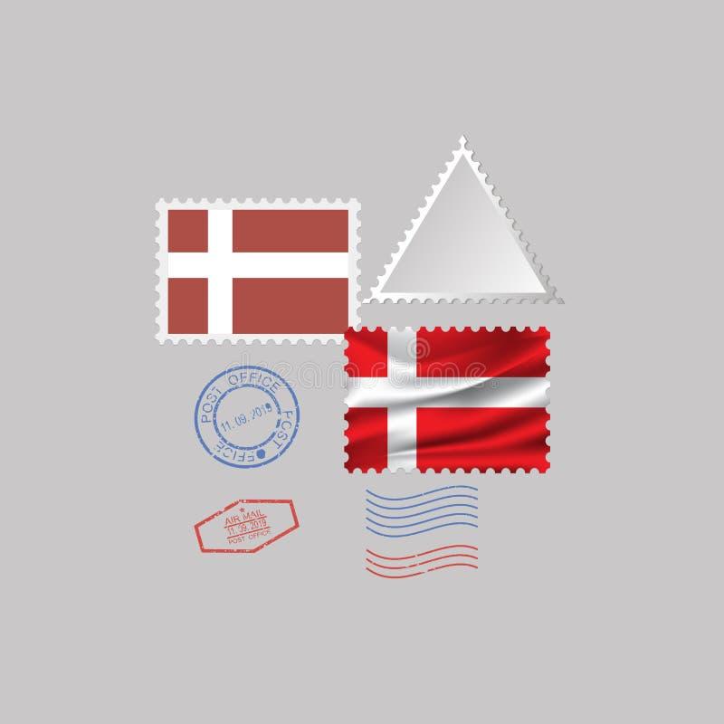 DÄNEMARK-FlaggenBriefmarkesatz, lokalisiert auf grauem Hintergrund, Vektorillustration 10 ENV vektor abbildung