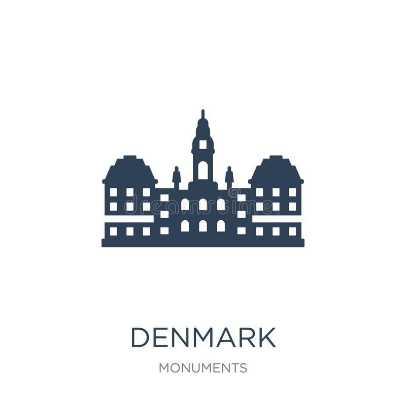 Dänemark-Ikone in der modischen Entwurfsart Dänemark-Ikone lokalisiert auf weißem Hintergrund einfaches und modernes flaches Symb vektor abbildung