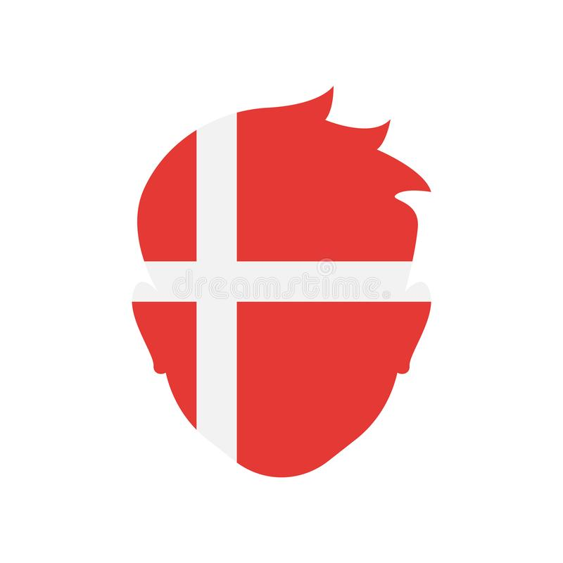 Dänemark-Ikonenvektorzeichen und -symbol lokalisiert auf weißem Hintergrund lizenzfreie abbildung