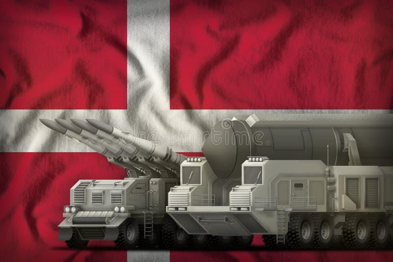 Dänemark-Raketentruppenkonzept auf dem Staatsflaggehintergrund Abbildung 3D stock abbildung