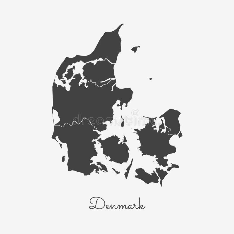 Dänemark-Regionskarte: grauer Entwurf auf Weiß stock abbildung
