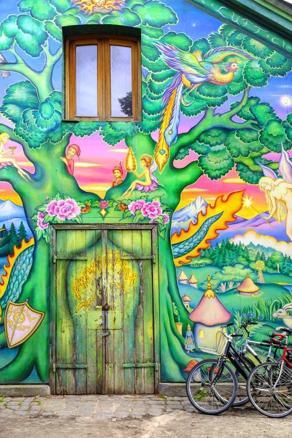 Dänemark- - Seeland-Region - Kopenhagen - Graffiti Wandgemälde und stre stockbilder
