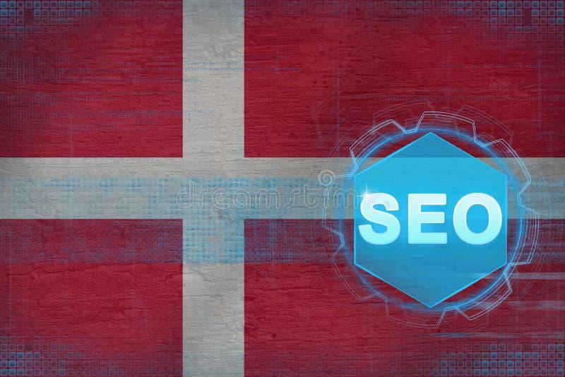 Dänemark-seo (Suchmaschinen-Optimierung) Suchmaschineoptimierungskonzept lizenzfreie abbildung