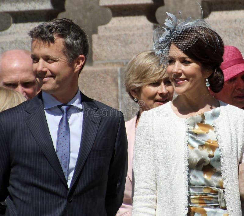 Dänische Crownprince Frederik und Crownprincesse Mary stockfotos