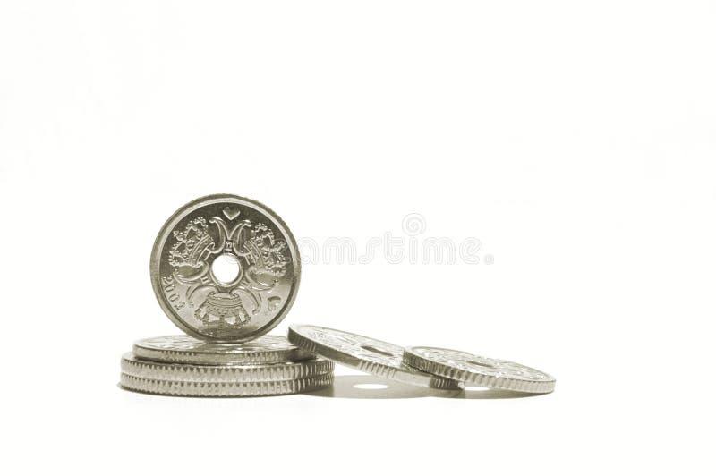 Dänische Münzen stockbild