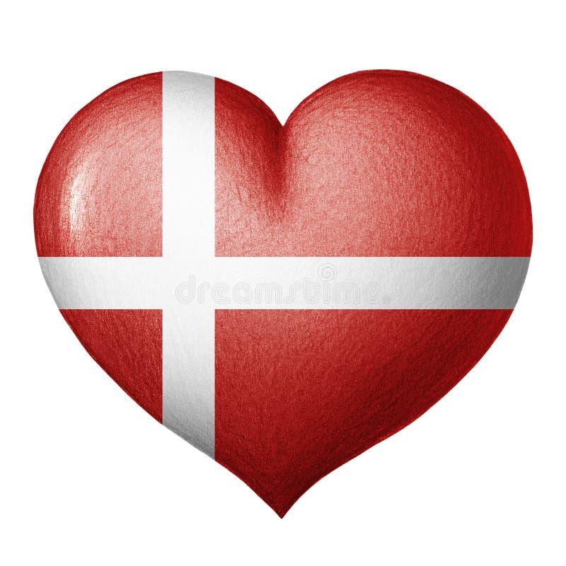Dänisches Flaggenherz lokalisiert auf weißem Hintergrund Zeichnung des Baums auf einem weißen Hintergrund lizenzfreie stockfotografie