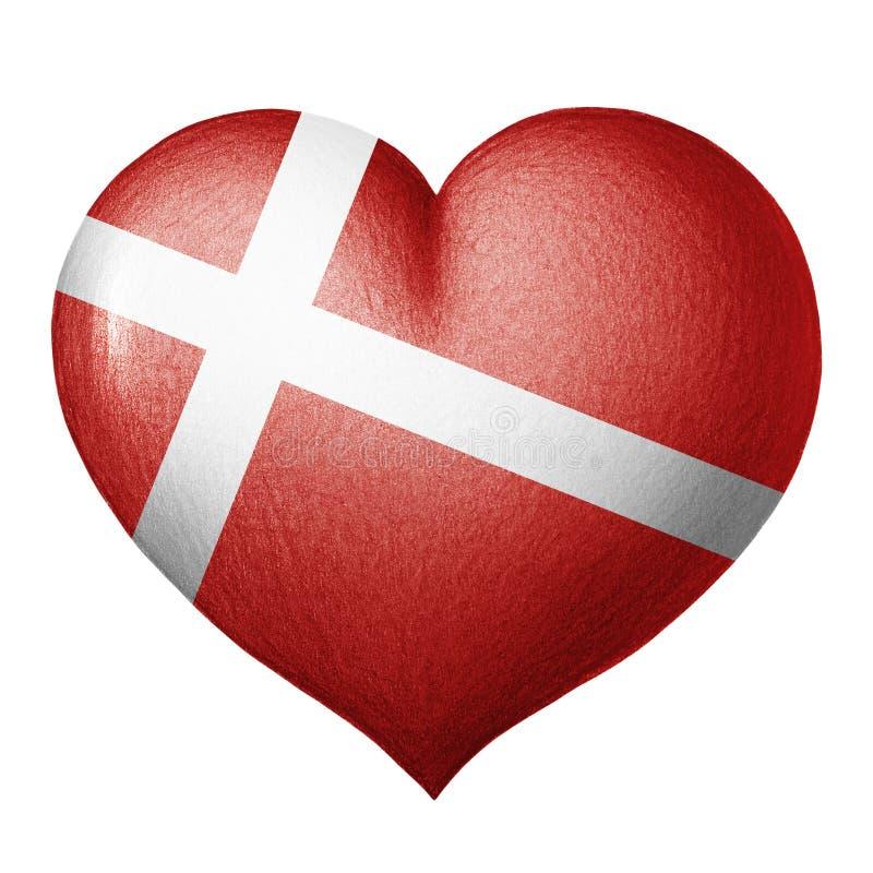 Dänisches Flaggenherz lokalisiert auf weißem Hintergrund Zeichnung des Baums auf einem weißen Hintergrund stockbild