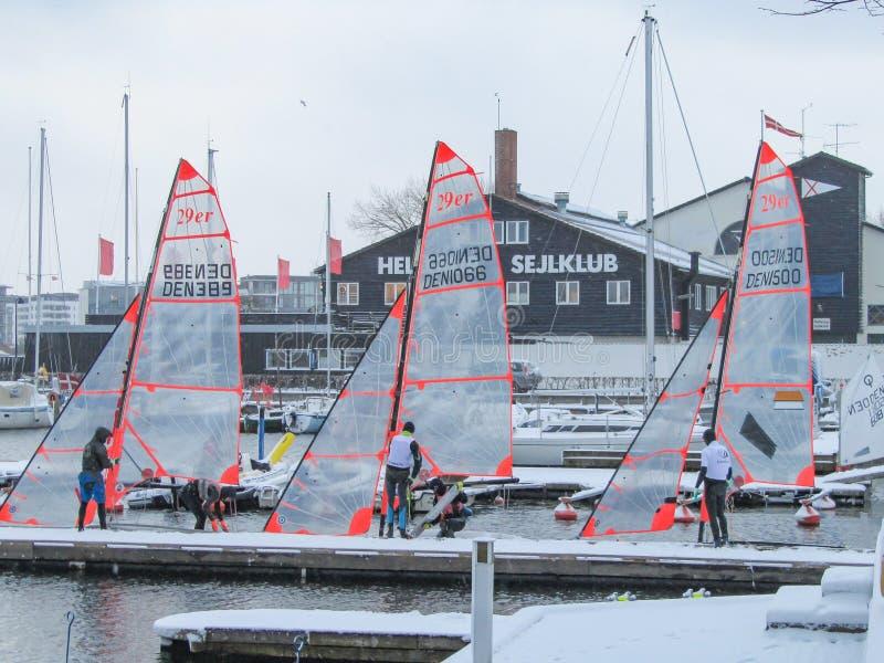Dänisches Winter-Segeln mit 29ers stockbilder