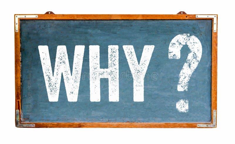 Därför text för frågefläck på en bred träsvart tavla för blå gammal grungy tappning eller en retro svart tavla med den red ut ram royaltyfri fotografi