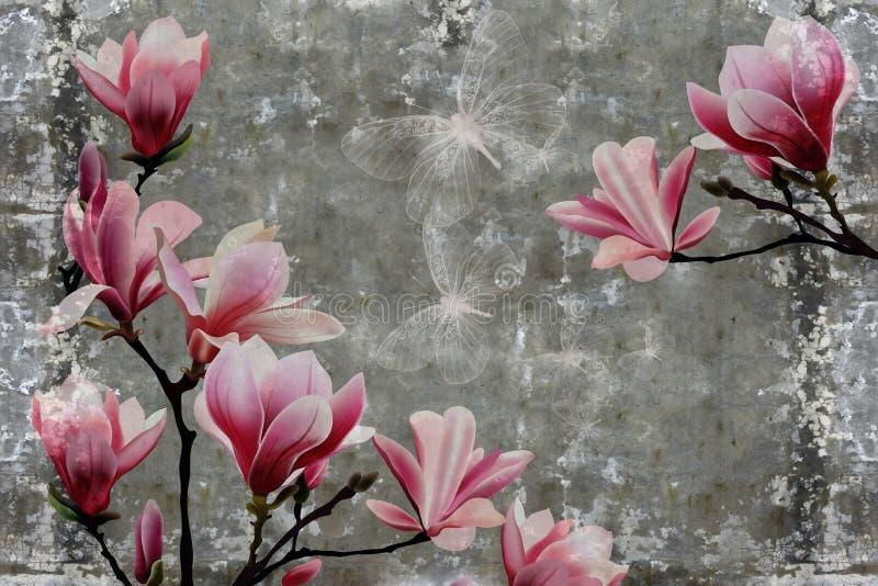3d墙纸,在混凝土墙织地不很细背景的木兰花 图库摄影