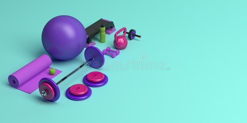 3d女性训练锻炼设备的概念的例证 健身球,重量,哑铃,水瓶 向量例证