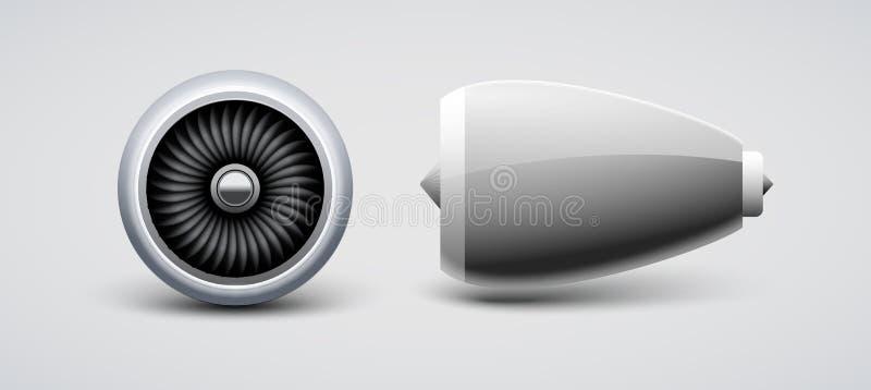 Dżetowa turbina, parowozowy płaski wektor odizolowywający Samolotu Turbo ostrza silnik Samolotowy frontowy bocznego widoku silnik royalty ilustracja