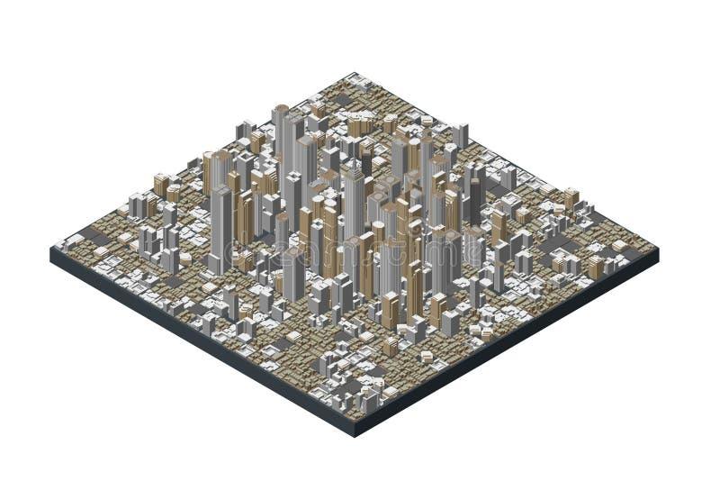 3D城市模型  背景查出的白色 也corel凹道例证向量 皇族释放例证