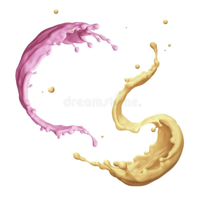 3d在白色背景回报,数字例证,液体飞溅,食物,饮料,汁液,油漆,被分类飞溅隔绝 向量例证