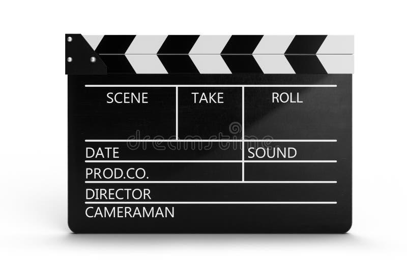 3d在白色背景隔绝的闭合的电影拍板或clapperboard的例证 有领域的黑影片拍板为 库存例证