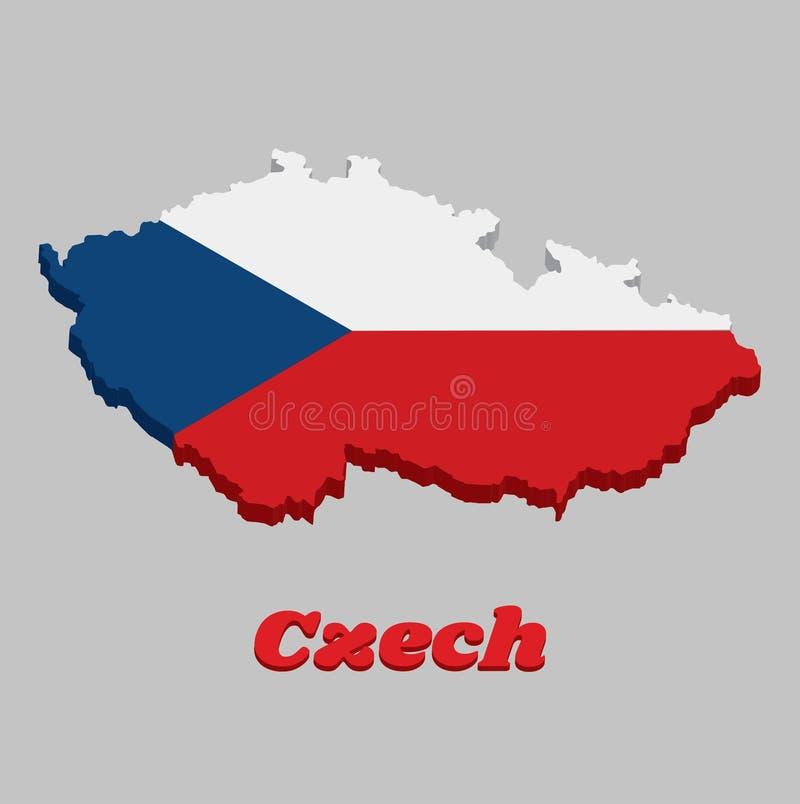 3D地图捷克的概述和旗子,两条相等的水平的带白色顶面和红色与基于的一个蓝色等腰三角形 库存例证