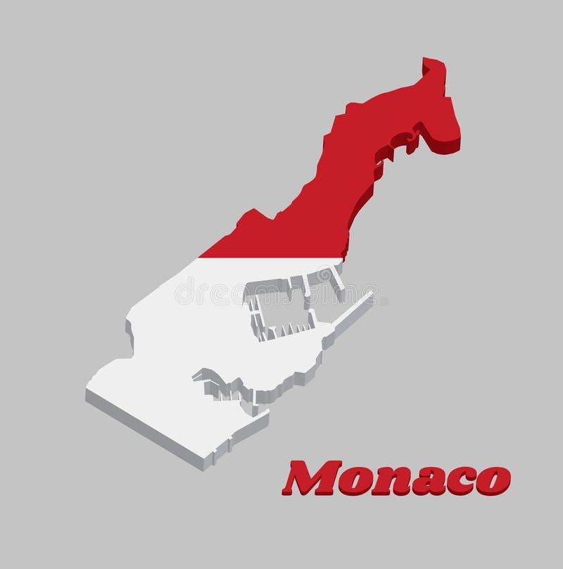 3D地图摩纳哥、两条相等的水平的带,红顶和白色底部概述和旗子  库存例证