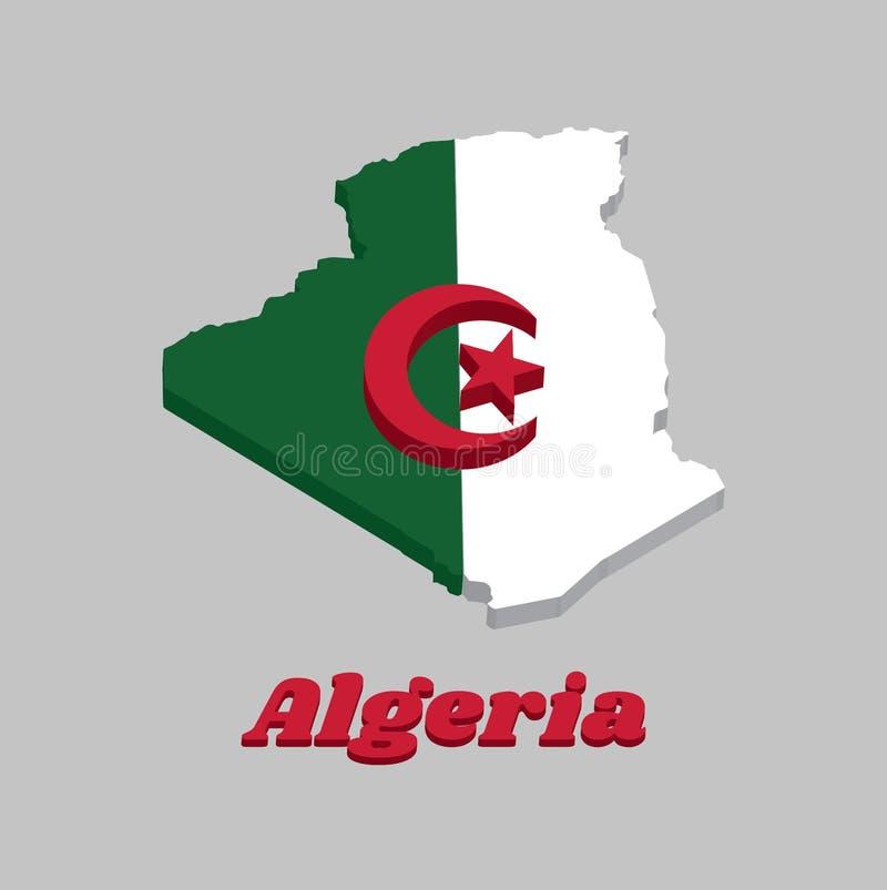 3D地图阿尔及利亚,它的概述和旗子是包括两个相等的垂直杆,绿色和白色,充电在中心与红色 向量例证