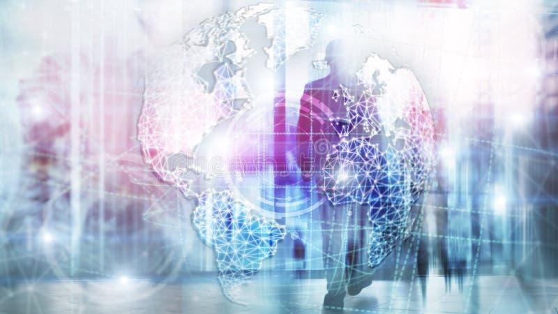 3D地球全息图、地球、万维网、全球企业和电信 向量例证