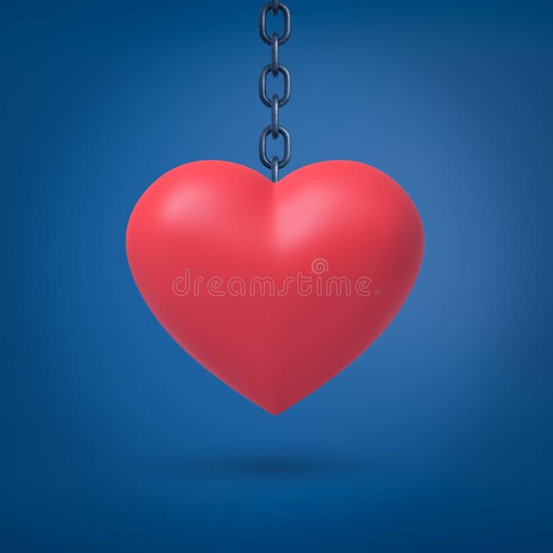 3d垂悬在蓝色背景的金属链子的大红心翻译 库存例证