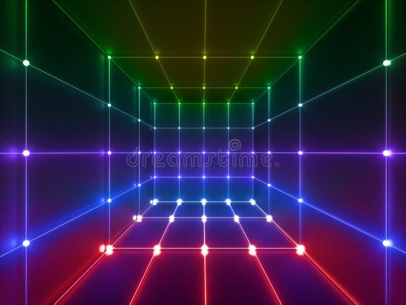 3d回报,发光的线,霓虹灯,抽象荧光的背景,立方体笼子,紫外,光谱充满活力的颜色,激光 库存例证