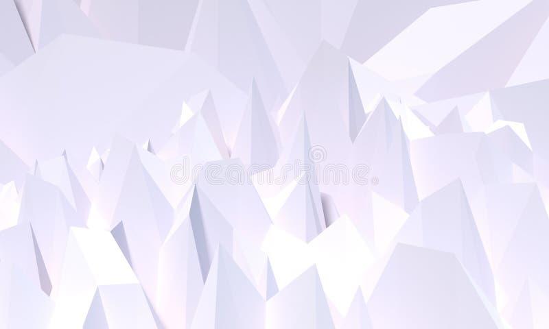 3d回报,提取黑水晶背景,雕琢平面的纹理,全景,宽全景多角形墙纸-例证 向量例证