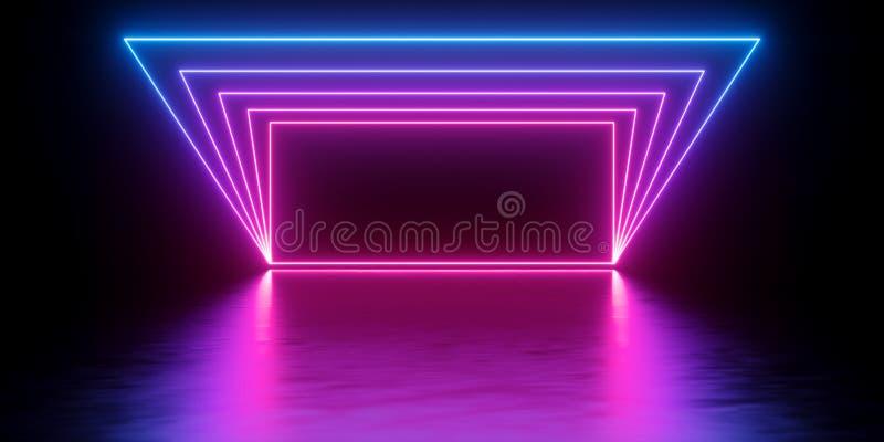 3d回报,抽象最小的背景,发光的线隧道,曲拱,走廊,桃红色蓝色霓虹灯,紫外光谱,真正 库存例证