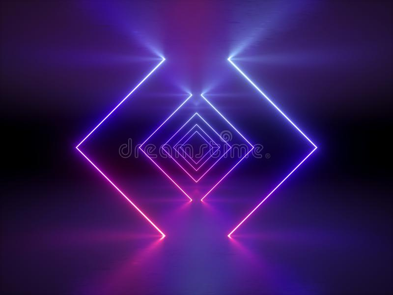 3d回报,抽象时尚背景,发光的线,紫罗兰色霓虹灯,紫外霓虹方形的门户,隧道,走廊 库存例证