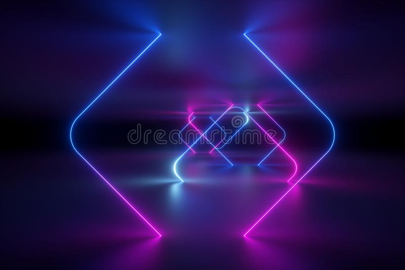 3d回报,抽象背景,紫外霓虹灯,虚拟现实,发光的线,隧道,桃红色蓝色充满活力的颜色,激光 免版税库存照片