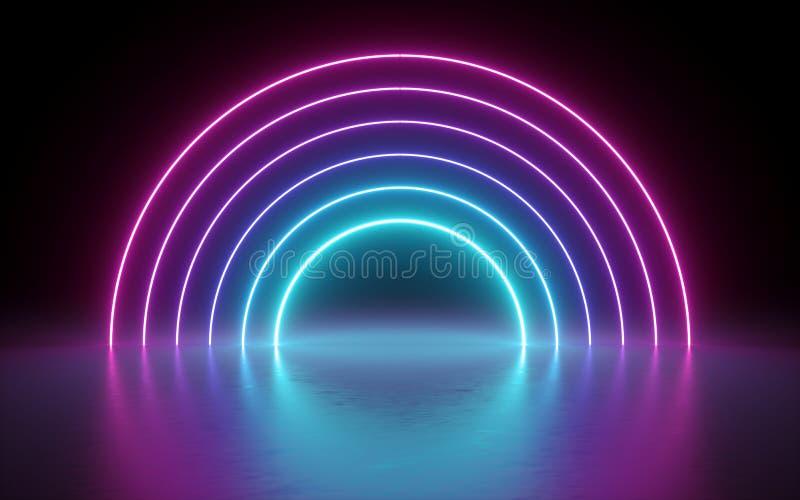 3d回报,抽象背景,霓虹灯,发光的线,圆的门户,曲拱,虚拟现实,隧道,桃红色蓝色光谱 库存例证