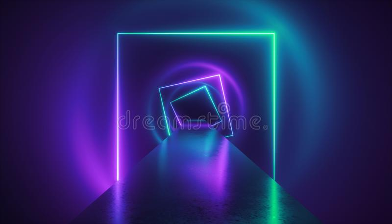 3d回报,时尚指挥台,虚拟现实环境,霓虹灯,方形的隧道,紫外抽象背景 库存例证