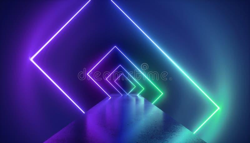 3d回报,时尚指挥台,虚拟现实环境,霓虹灯,长方形,隧道,紫外抽象背景 皇族释放例证