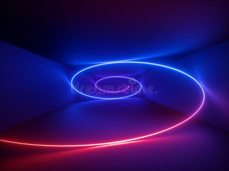 3d回报,红色蓝色霓虹螺旋,螺旋,抽象萤光背景,激光展示,夜总会内部光,发光弯曲 皇族释放例证