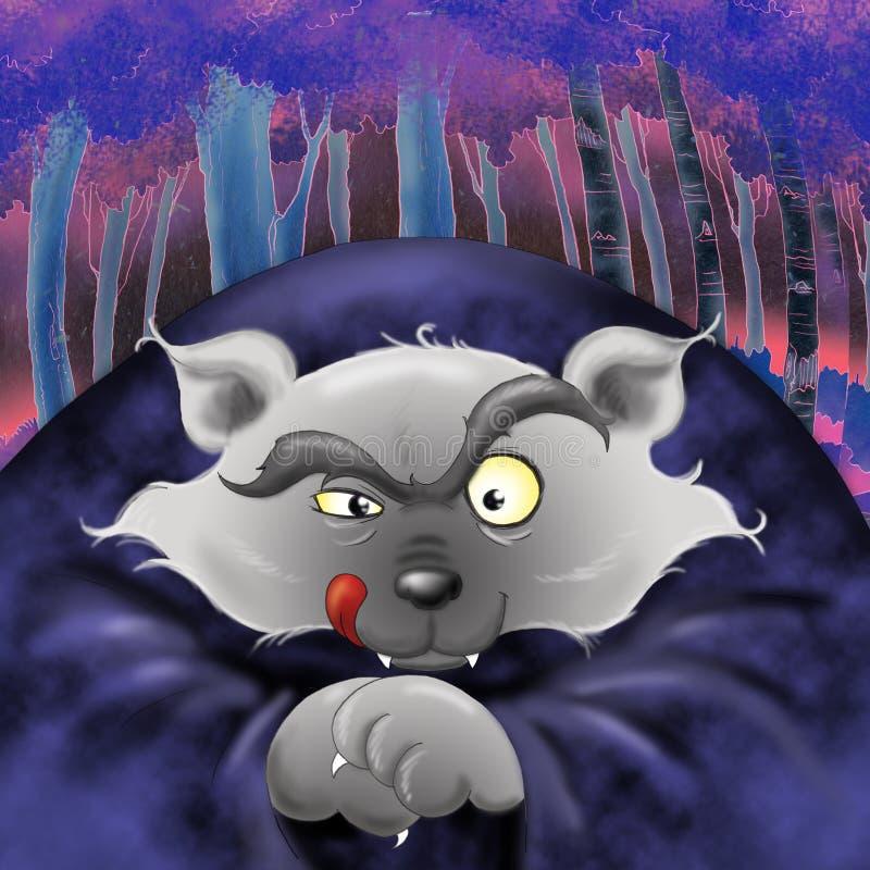 dålig digital illustrationwolf vektor illustrationer
