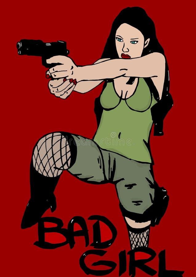 Dålig flicka med vapnet royaltyfri illustrationer
