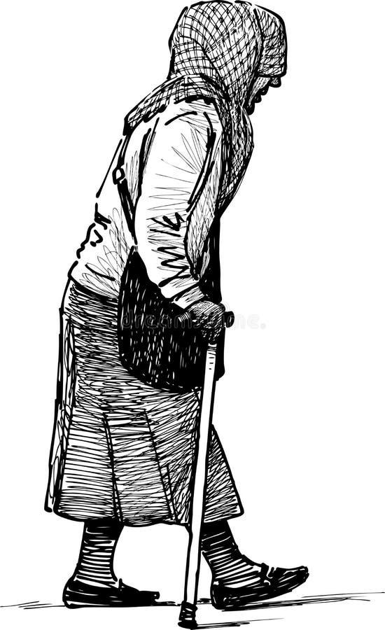 Dålig gammalare kvinna stock illustrationer