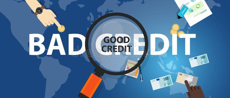 Dålig kreditering vs begrepp för val för bra lån för krediteringsställning finansiellt av pengarledning stock illustrationer