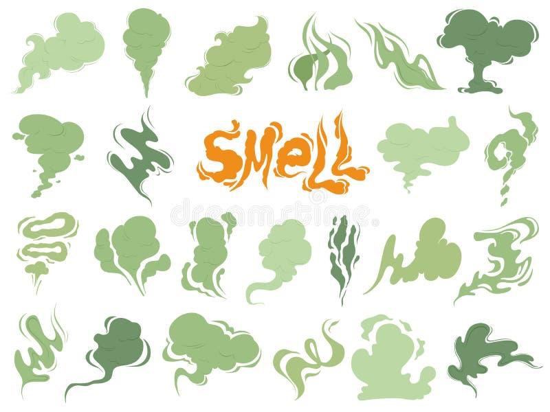 Dålig lukt Ånga rökmoln av cigaretter eller förföll gamla symboler för tecknad film för matvektormatlagning royaltyfri illustrationer