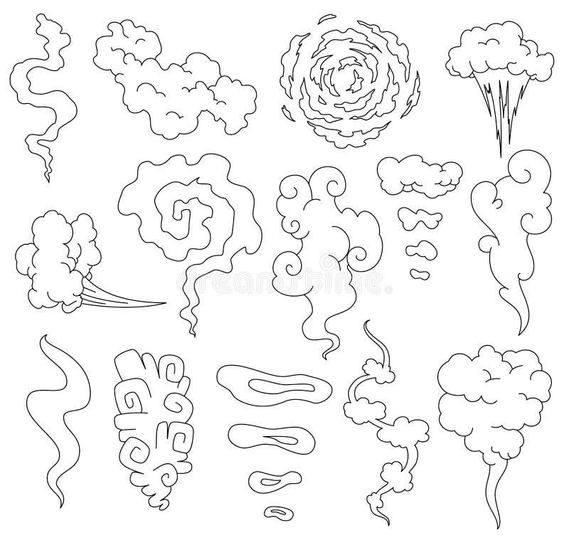 Dålig lukt Röklinje moln Ånga rökmoln av cigaretter eller förföll gamla symboler för tecknad film för matvektormatlagning vektor illustrationer