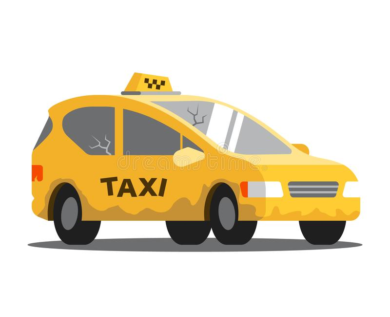 Dålig taxibil royaltyfri illustrationer