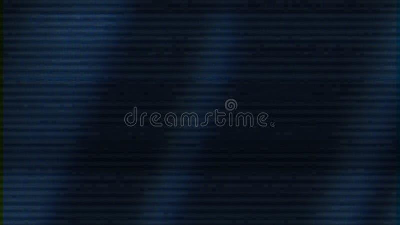 Dålig TVsignal på mörkt - blå skärm, sömlös ögla djur Abstrakt animering med oväsenet på TVskärmen, rörelse av royaltyfria foton