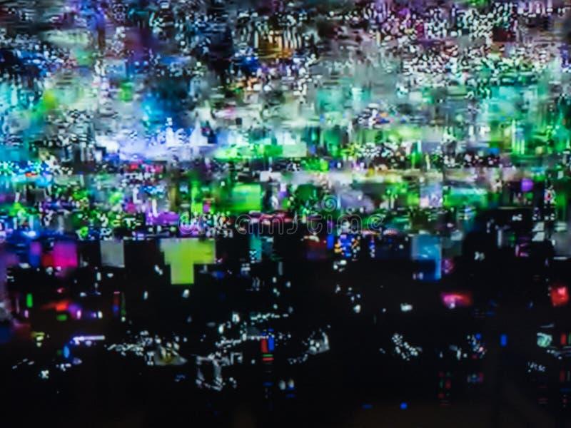 Dålig TVsignal, televisionstörning, digitalt oväsen för färg abstrakt bakgrund arkivfoto