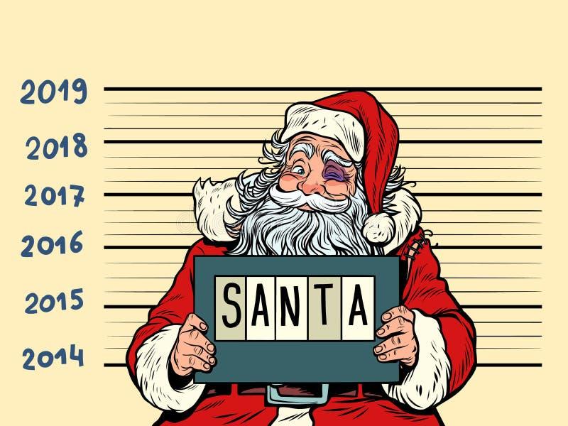 dåliga claus santa Arresterat 2019 lyckliga nya år stock illustrationer