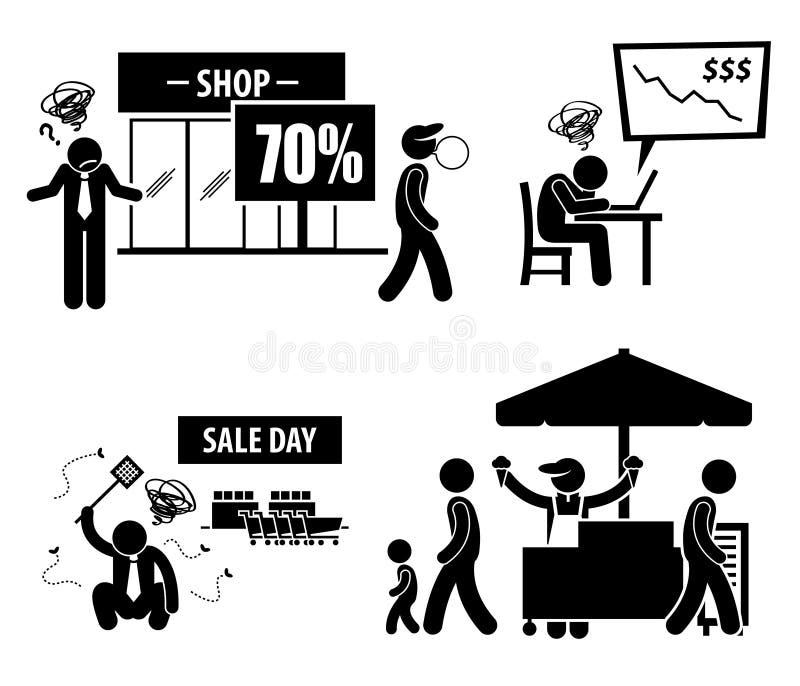 Dåliga fattiga symboler för affärsdag stock illustrationer