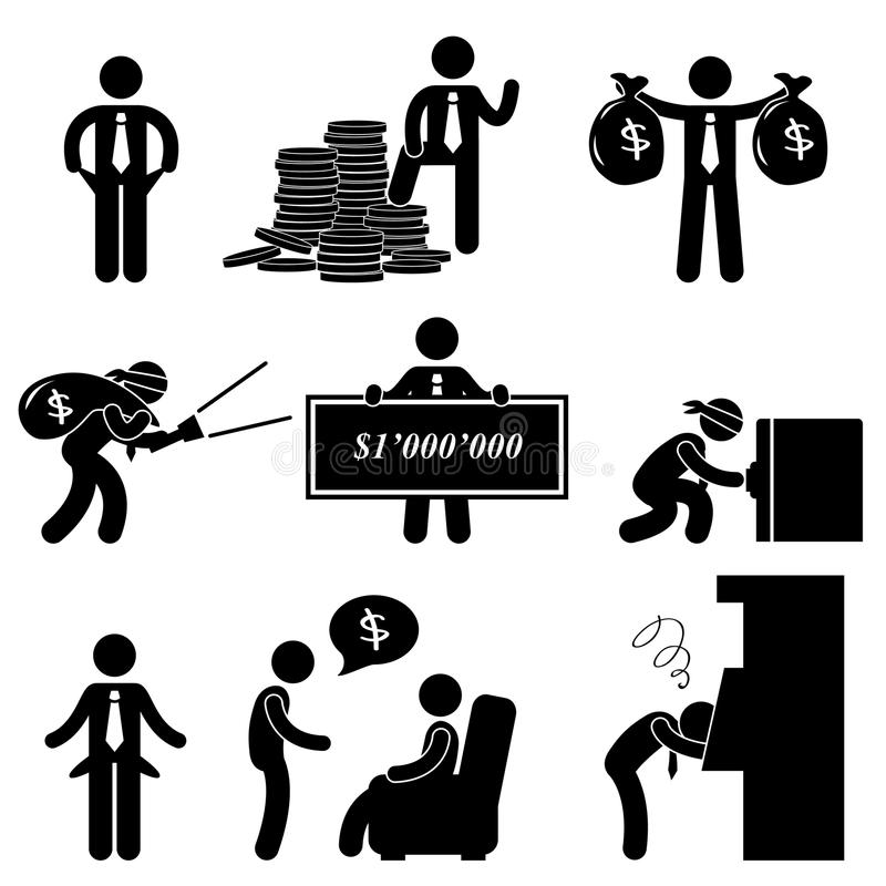 dåliga rich för manfolkpictogram vektor illustrationer