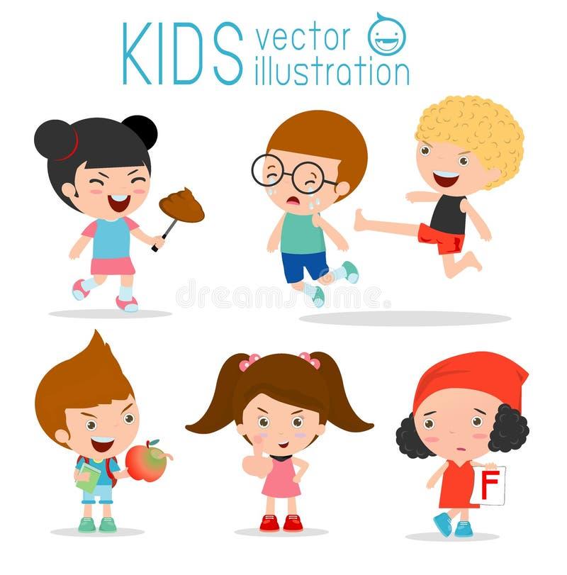 Dåligt barnuppförande, dåliga ungar, dålig pojke, dålig flicka, barnbad, ondskan av barnet på vit bakgrund, barnöversittare, unge royaltyfri illustrationer